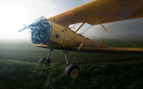Picture fog, field, the plane, Boeing Stearman PT-27 Kaydet