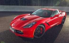 Picture Corvette, Chevrolet, Muscle, Red, Car, Front, American, Stingray