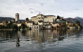 Picture Italy, mountains, home, trees, lake Orta, the island of San Giulio, tower, the sky