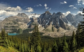 Picture forest, mountains, lake, panorama, Banff National Park, Alberta, Canada, Moraine Lake, Valley of the Ten …