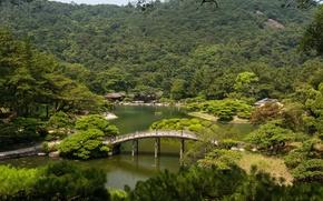 Picture trees, landscape, bridge, nature, river, photo, Japan, gardens, Takamatsu, Ritsurin garden