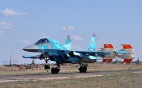 Picture dry, landing, su-34, bomber, Fullback, the Russian air force