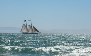 Picture sea, morning, tall ship