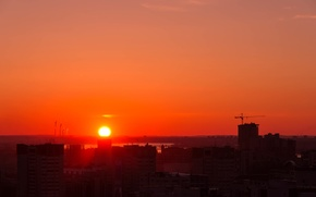 Picture Sunset, The sun, The city, Perm, Kama