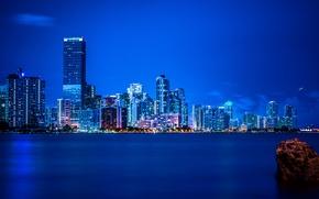 Picture night, lights, Miami, FL, panorama, Miami, florida, vice city
