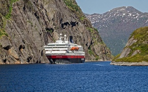 Picture sea, rocks, Norway, cruise liner