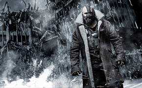 Picture The Dark Knight Rises, the ruined city, Bane, The dark knight: the legend