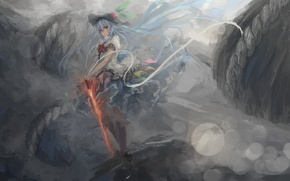 Picture fog, magic, sword, hat, grey background, Hinanawi Tenshi, touhou, blue hair, glowing, Touhou Project, Project …