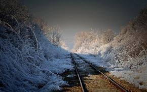 Picture landscape, nature, morning, railroad
