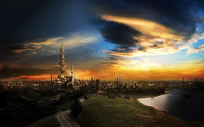 Wallpaper The sky, mosque, clouds, Road, the city, sunset