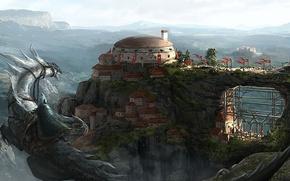 Picture mountains, bridge, the city, dragon, art, rider, flags