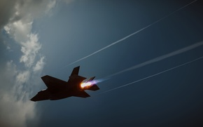 Picture the sky, clouds, fire, fighter, Jet, F-35, Battlefield 4, BF4