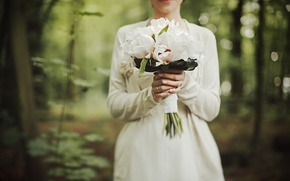 Picture flowers, bouquet, white, peonies, wedding