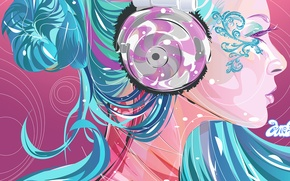 Picture color, girl, bright, Vector, headphones, profile, blue hair