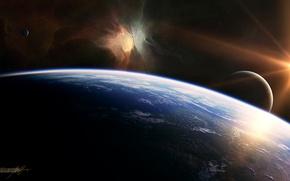 Wallpaper satellites, light, shadow, planet, stars, glow