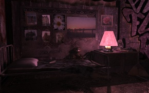 Picture the dark background, room, lamp, interior, graffiti, the room, greyice