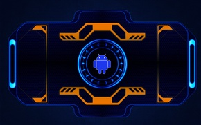 Wallpaper Android, android, orange, neon