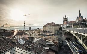 Picture the city, home, architecture, Switzerland, Lausanne, Bessières Bridge