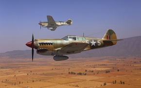 "Picture the sky, art, fighters, RAF, WW2, American, Curtiss P-40, (""Kittyhawk""), Curtiss P-40, ""Tomahawk"""