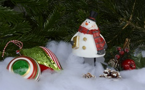 Picture branches, holiday, toy, toys, new year, Christmas, hat, snowman, tree, needles, scarf, figure, Christmas, smiley, …