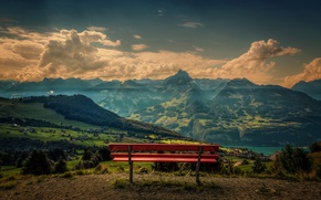 Picture the sky, clouds, mountains, Switzerland, bench, Canton of St. Gallen, Amden