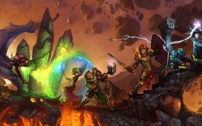 Wallpaper lightning, sword, Dragon, hammer, MAG, heroes, the battle, shield, knight