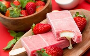 Picture berries, strawberry, ice cream, fresh, dessert, sweet, sweet, dessert, berries, ice cream