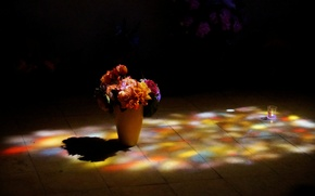 Picture flowers, tile, bouquet, lighting, floor, vase