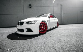Picture white, BMW, BMW, white, E92, frontside