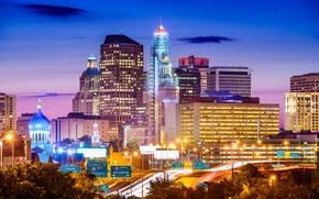 Picture night, building, USA, illumination, Hartford