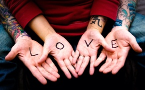 Picture girl, love, letters, hands, tattoo, guy