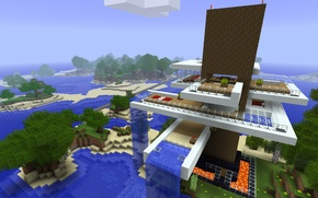 Picture sand, sea, the sky, water, trees, flowers, waterfall, the hotel, minecraft
