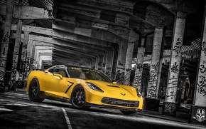 Picture yellow, background, tuning, Corvette, Chevrolet, columns, Chevrolet, tuning, the front, Stingray, Corvette, HPE700, Ruffer Performance