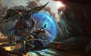 Picture weapons, magic, armor, gorge, Warriors, fight