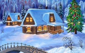 Wallpaper tree, house, snow, the bridge, winter