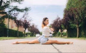 Picture shorts, twine, girl, stretching, on the road