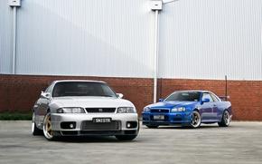 Picture nissan, turbo, skyline, japan, blue, jdm, tuning, gtr, r34, r33, nismo, datsun, godzila