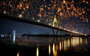 Picture night, bridge, city, the city, lights, lights, reflection, river, river, bridge, night, reflection