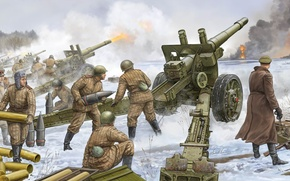 Picture figure, soldiers, The great Patriotic war, Howitzer, The Red Army