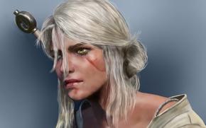 Picture look, weapons, scar, green eyes, Ciri, Witcher 3: Wild Hunt, Cirilla, Ciri