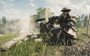 Picture war, the game, soldiers, machine gun, the battle, the fire, Electronic Arts, Battlefield 1