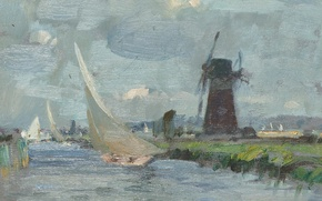 Picture landscape, boat, picture, sail, windmill, Edward Seago, Breezy Day on the Ant. Norfolk