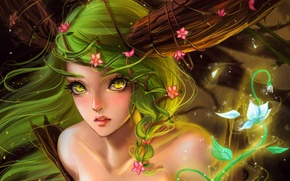 Picture lights, magic, Fairy, flowers, green hair