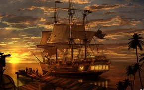 Picture sea, landscape, sunset, the evening, Ship, pirates