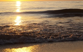 Picture sand, sea, wave, beach, the sky, foam, water, the sun, light, sunset, squirt, nature, lights, ...