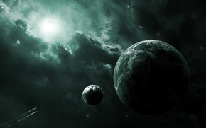 Picture the sun, nebula, the moon, planet, satellite, ships