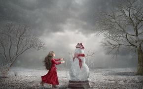 Wallpaper girl, snowman, winter