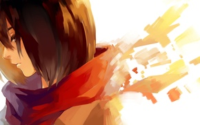 Picture girl, scarf, art, profile, Mikasa Ackerman, Mikasa Ackerman
