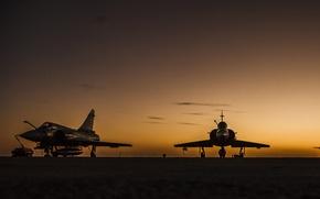 Picture silhouette, twilight, Brazil, Mirage, FAB, Air force of Brazil, The air force of Brazil, Rio ...