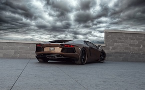 Picture the sky, Lamborghini, supercar, tuning, Wheelsandmore, Lamborghini, Aventador, Rabbioso, Anventador, rear view.tuning